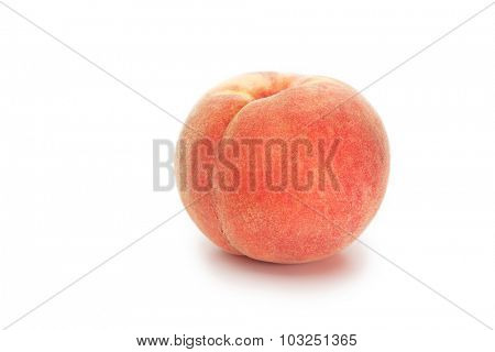 Autumn harvested peach, isolated on white.