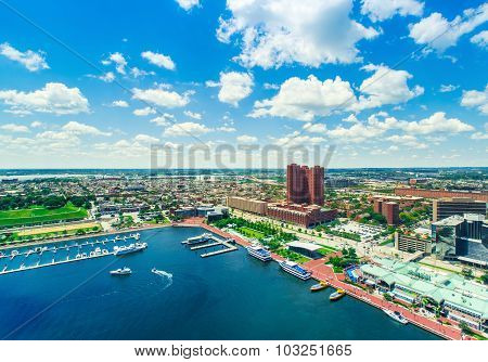 Aerial View Of The Inner Harbor In Baltimore, Maryland