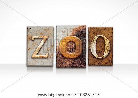 Zoo Letterpress Concept Isolated On White