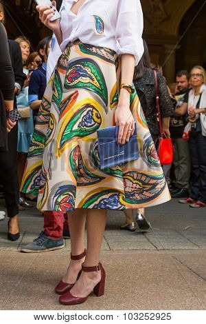 Detail Of A Woman Outside Scervino Fashion Show Building In Milan, Italy
