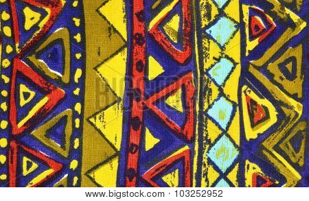 Triangles And Rhombus In A Row On Colorful Fabric.