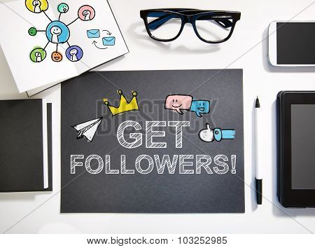 Get Followers Concept With Black And White Workstation