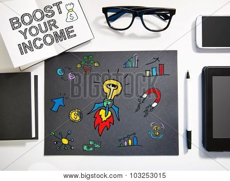 Boost Your Income Concept With Black And White Workstation