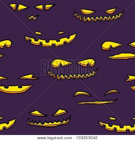Halloween Pumpkin Faces Pattern.