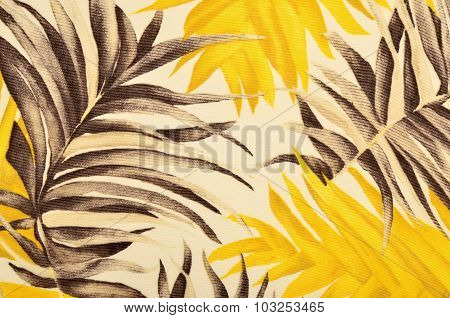 Tropical Brown And Yellow Leaves Pattern On Fabric.