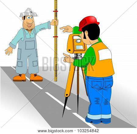 Surveyor And Assistant