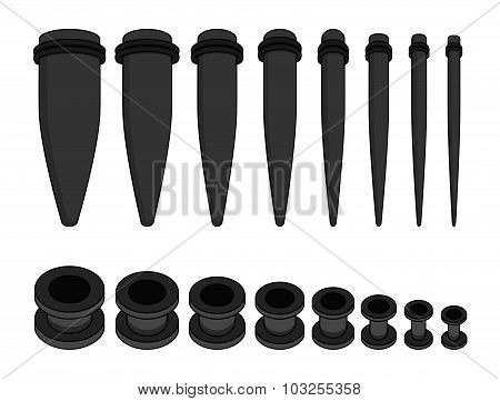 Set of ear tunnels and taper starters kit