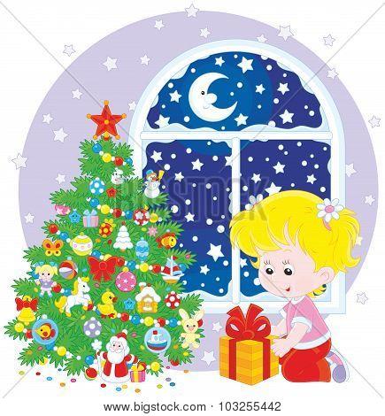 Girl and Christmas gift