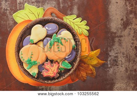 Thanksgiving cookies on rustic table