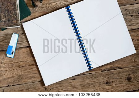 Open Blank Notebook With Blank White Pages Closeup