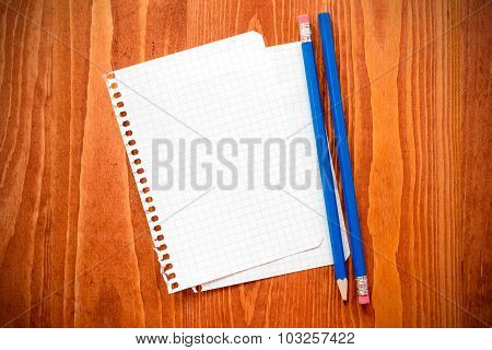 Blank Paper  With A Pencils