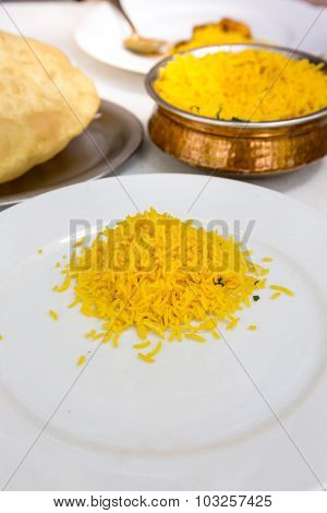 Indian Food, Saffron Rice And Bhatura