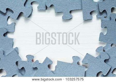 Wooden Background And Border From Puzzle