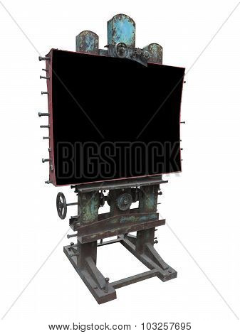 Stylish Industrial Style Advertising Panel, Rusty Gear And Bolt, Black Blank Space, Isolated