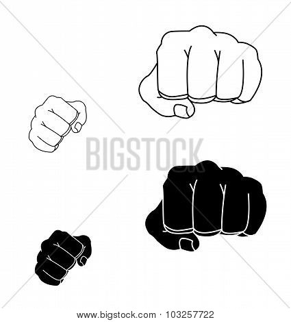 Clenched striking man fists in fight stance.  Black and white