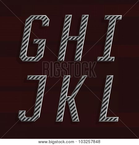 Carbon fiber Alphabet Vector Font. Part 2 of 6. Letters G - L.