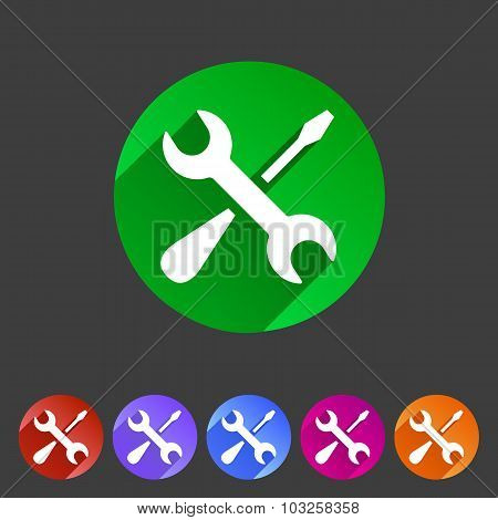 Repair icon flat web sign symbol logo label set