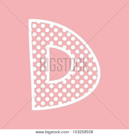 D vector alphabet letter with white polka dots on pink background