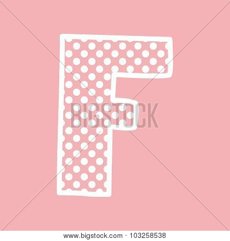 F vector alphabet letter with white polka dots on pink background