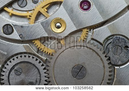 Metal Cogwheels In Old Clockwork, Macro.