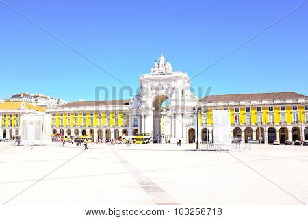 Commerce square, one of the most important landmarks of Lisbon, with the famous Triumphal Arch in  Portugal