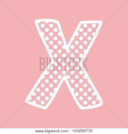 X vector alphabet letter with white polka dots on pink background