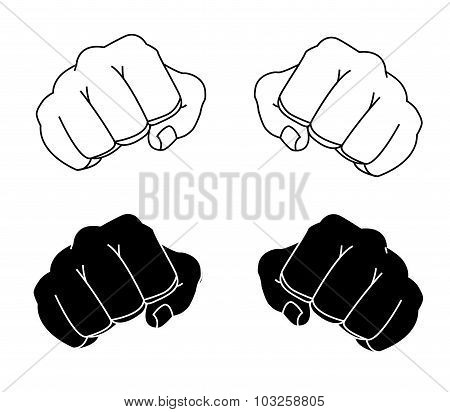 Comics style clenched man fists black and white color