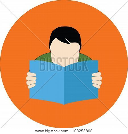 Reading Person. Faq Concept. Flat Design.