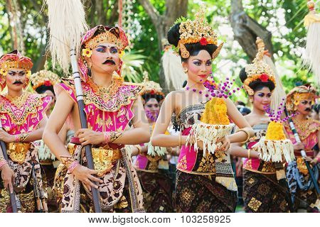 Group Of Balinese Dancers In Traditional Costumes