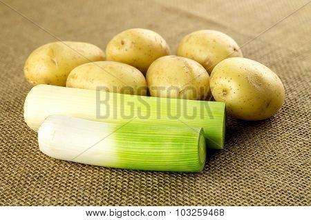 Macro Closeup Of Variety Of White Potatoes And Fresh Organic Leek On Hessian Background