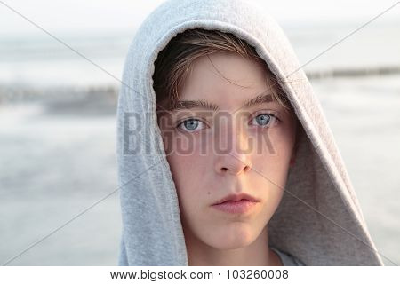 Portrait Of A Teenager Boy With Hoodie