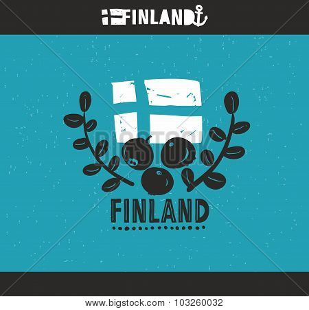 Cool emblem of Finland with hand drawn image in vintage style.