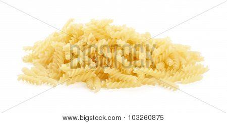 Many Fusilli Pasta Isolated On White