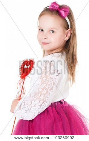 Beautiful little girl wearing fairy costume with magic wand, isolated on white background