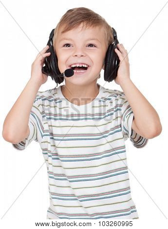 Little boy with headphones - isolated on white background