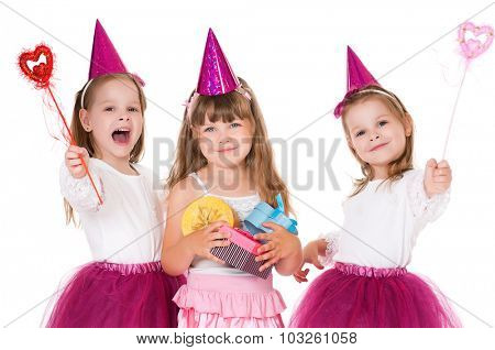 Cute little girls with gifts, isolated on white background