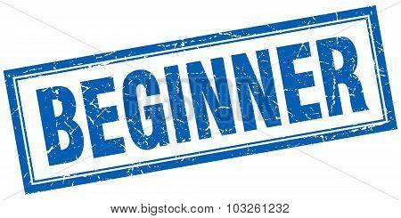 Beginner Blue Square Grunge Stamp On White