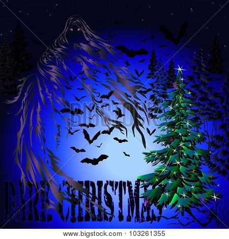 Dark Christmas Tree And Bats