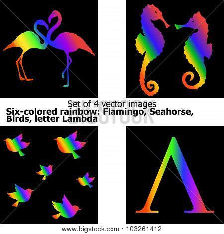 Six-stripe Rainbow: Flamingo, Seahorse, Birds, Letter Lambda