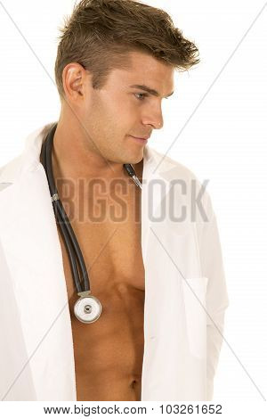 Doctor With Open Jacket Close Look To Side