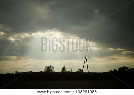 Dramatic Clouds With Skyline