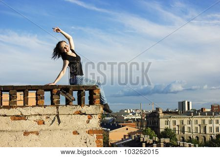 Russian Girl Walking On The Roof