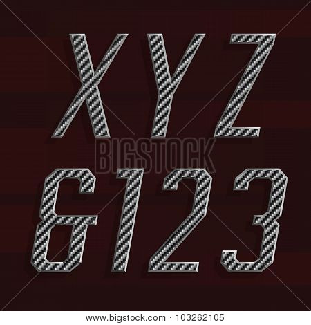 Carbon fiber Alphabet Vector Font. Part 5 of 6. Letters X, Y, Z and numbers 1, 2, 3.