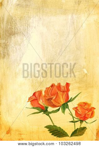 A vintage-styled watercolour drawing of a tea rose on a textured artistic background