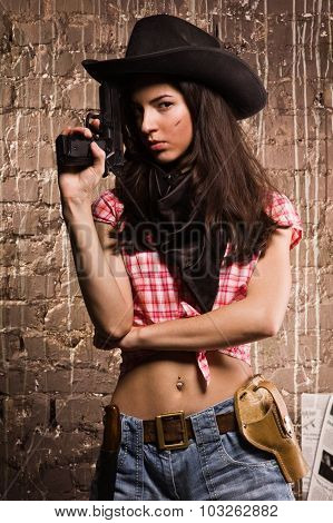 Sheriff Woman On Wall Background