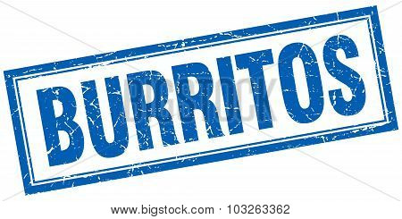 Burritos Blue Square Grunge Stamp On White