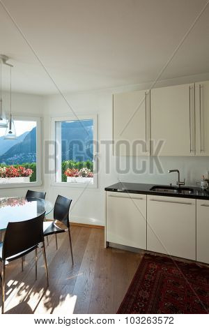 Interior of  house, furnished domestic kitchen, detail