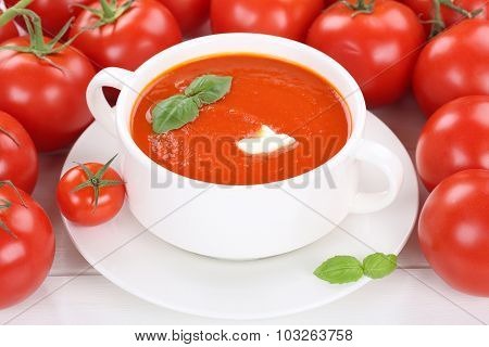 Tomato Soup With Tomatoes In Bowl