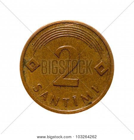 Coin Two Centimes Latvia Isolated On White Background. Top View.