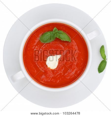 Tomato Soup Meal With Fresh Tomatoes Isolated